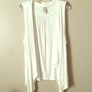 Cream colored lightweight flowy vest